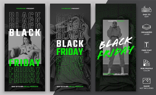 Set bundle of black friday template.
