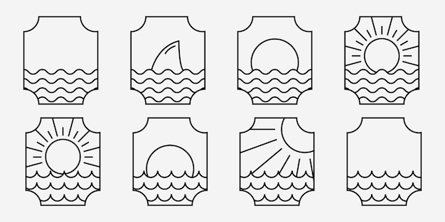 Set bundle of marine ocean wave line art logo illustration vecteur de sea emblem design of maritime