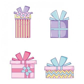 Set cadeaux avec noeud de ruban
