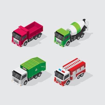 Set de camions isométriques