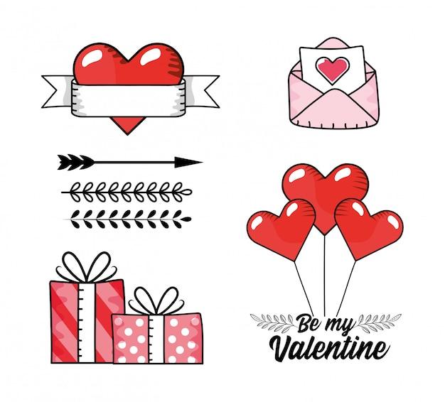 Set de carte d'amour avec des cadeaux cadeaux et des ballons coeurs