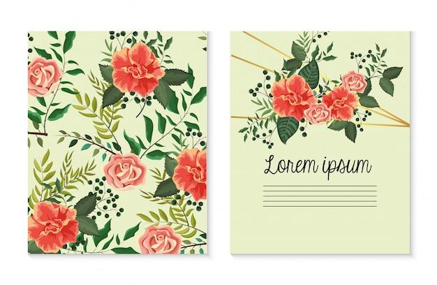 Set de carte avec des plantes roses avec des feuilles