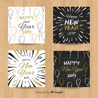 Set de cartes dessinées à la main pour le nouvel an 2019