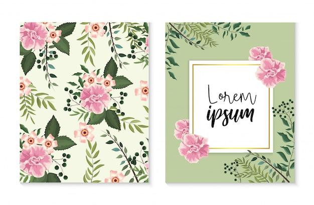 Set de cartes et étiquettes avec plantes roses