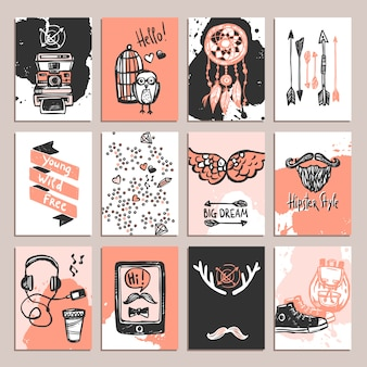 Set de cartes hipster