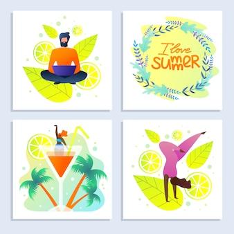 Set de cartes avec inscription i love summer flat
