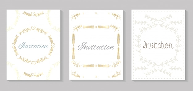 Set de cartes d'invitation avec calligraphie leafs golden