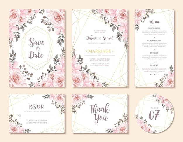 Set de cartes d'invitation de mariage vintage
