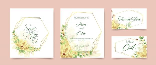 Set de cartes d'invitation de mariage
