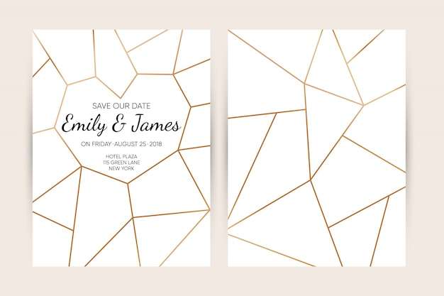 Set de cartes d'invitation de mariage.