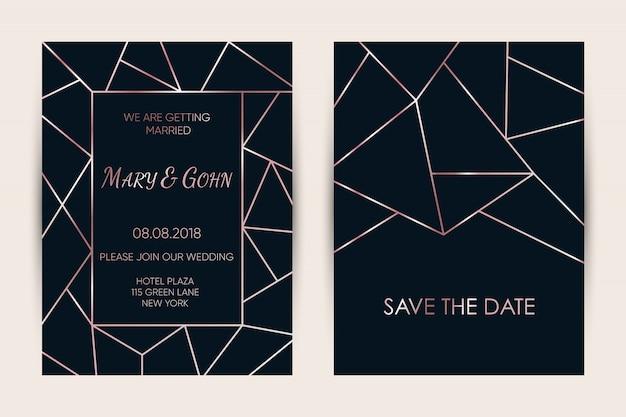 Set de cartes d'invitation de mariage.