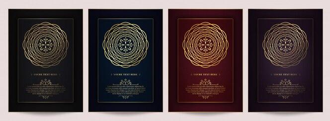 Set de cartes d'invitation vintage de luxe