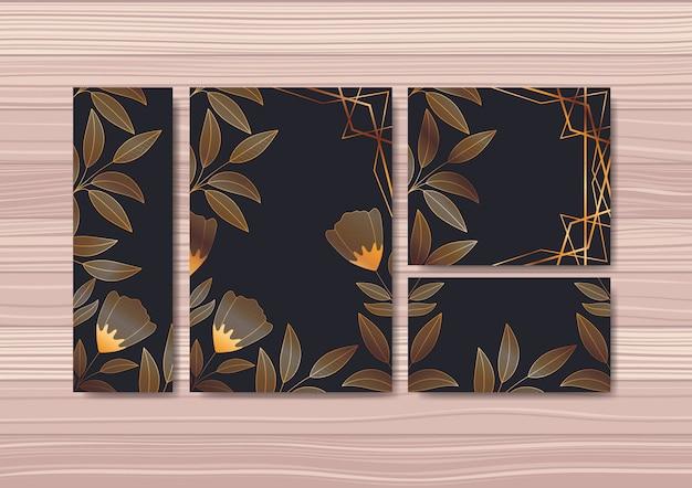 Set de cartes d'invitations avec décoration florale