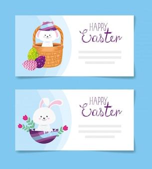 Set De Cartes De Joyeuses Pâques Avec Décoration Illustration Vectorielle Design Vecteur Premium