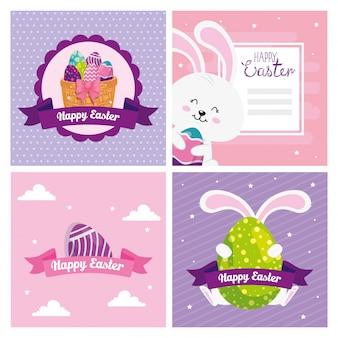 Set de cartes de joyeuses pâques avec décoration