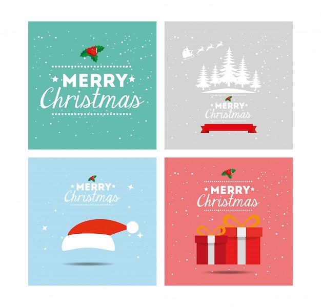 Set de cartes de joyeux noël et de décoration