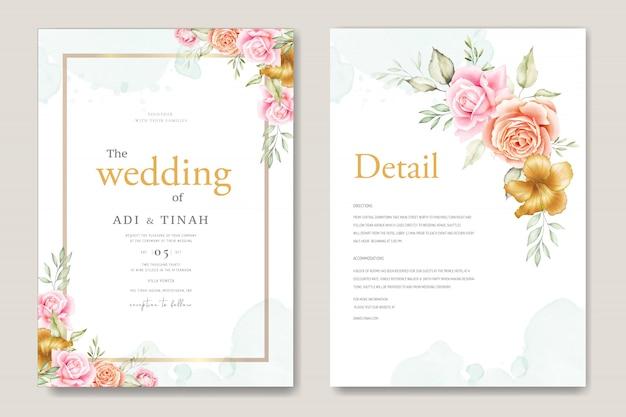 Set de cartes de mariage aquarelle avec beau floral et feuilles