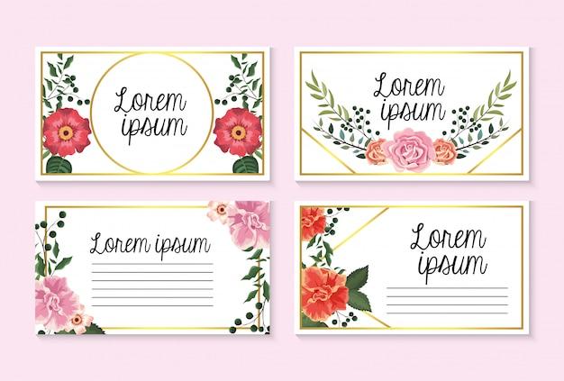 Set de cartes avec des roses et des fleurs avec des feuilles de branches