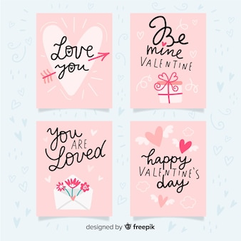 Set de cartes de saint valentin dessinées à la main
