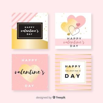 Set de cartes saint valentin avec détails dorés