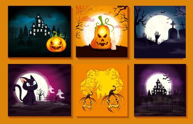 Set de cartes avec des scènes d'halloween