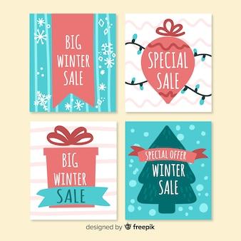 Set de cartes de soldes d'hiver