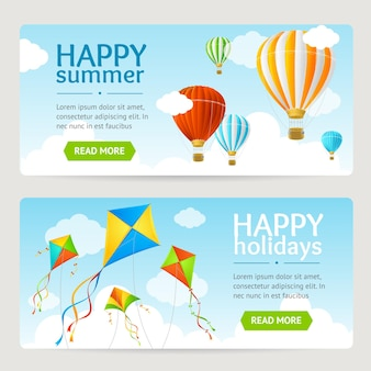 Set de cartes de vacances d'été avec cerf-volant et ballon. horizontal. illustration vectorielle