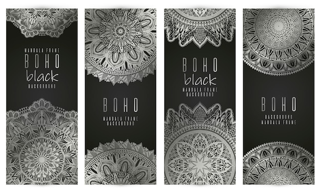 Set de cartes vectorielles mandala vintage