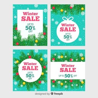 Set de cartes de vente d'hiver dessinés à la main