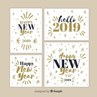 Set de cartes de voeux pour le nouvel an 2019