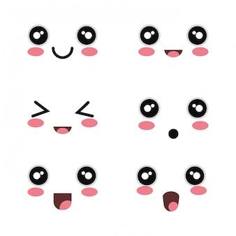 Set cartoon face design fond blanc