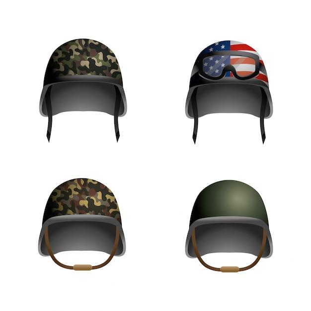 Set casque militaire avec des lunettes et drapeau usa