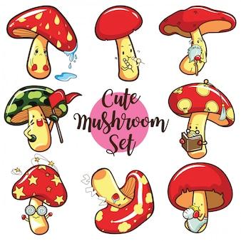 Set champignon mignon de bande dessinée