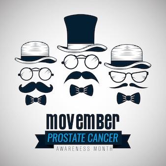 Set de chapeau avec des lunettes et moustache