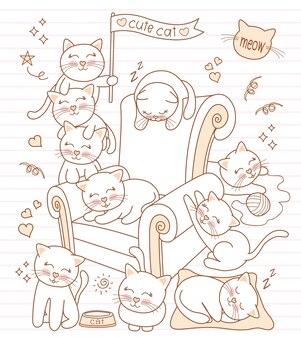 Set chat mignon heureux