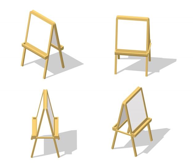 Set chevalet isométrique. dessin tableau blanc. bureau de peinture et papier blanc isolé sur fond blanc.