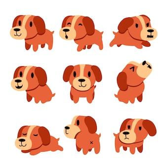 Set de chien de personnage de dessin animé