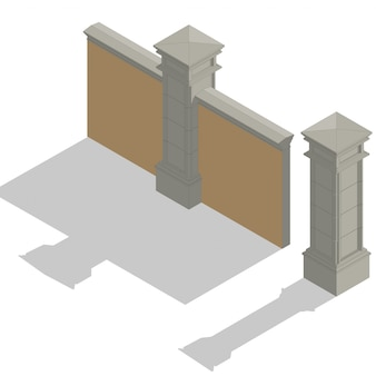 Set de clôture isométrique vector, kit de construction