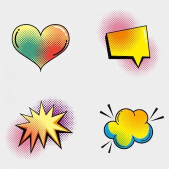 Set coeur avec bulle de dialogue et étoile avec patch nuage