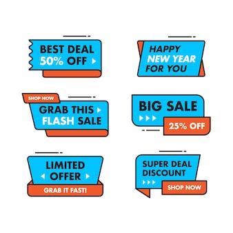 Set collection conception de modèle de bannière de vente, offre spéciale de grande vente.