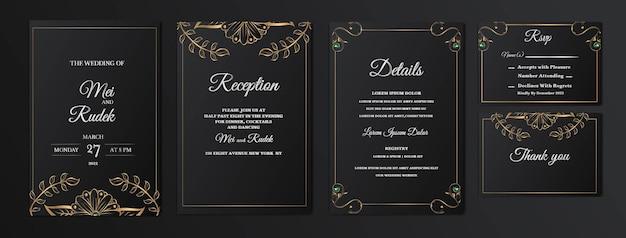 Set collection élégante enregistrer la carte d'invitation de mariage date