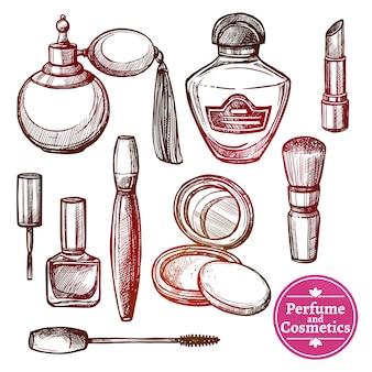 Set de cosmétiques dessiné à la main