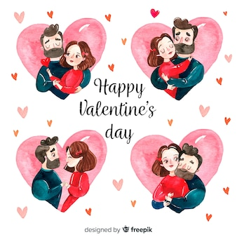 Set couple aquarelle saint valentin