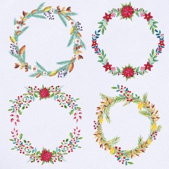 Set de couronnes de noël aquarelle