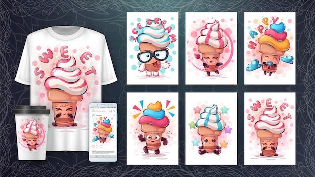 Set de crème glacée - affiche et merchandising.
