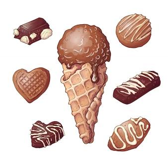 Set crème glacée au chocolat