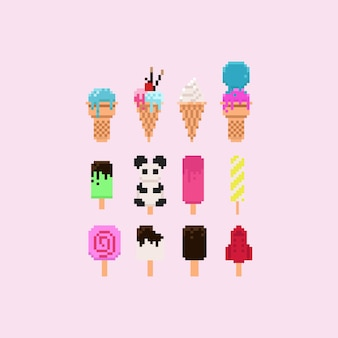 Set de crème glacée aux pixels