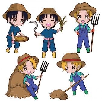 Set cute cartoon jeune agriculteur tenant râteau.