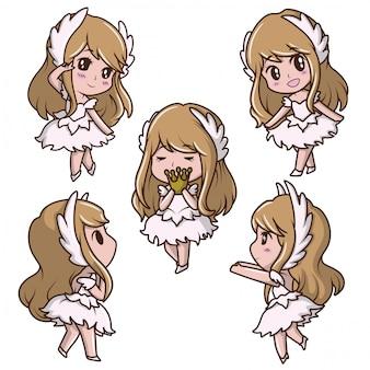 Set cute girl en robe de danse. concept de dessin animé de conte de fées.