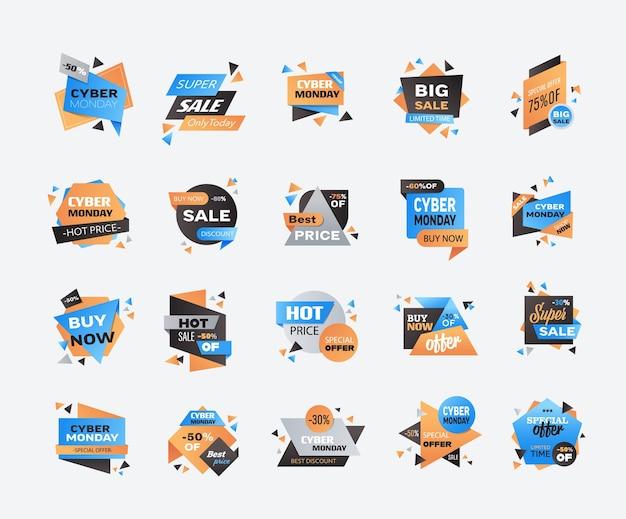 Set cyber lundi grande vente badge collection publicité offre spéciale